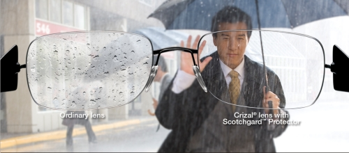 Crizal lenses stay drier in water and rain