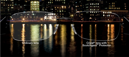 Crizal no glare eyeglass lenses for safe night driving