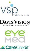 we accept VSP, Davis Vision, EyeMed and many more vision care and medical insurance plans and CareCredit credit cards